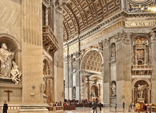 Rome, Italy - APRIL 10, 2016: Interior of St. Peter's Basilica. Stock Photos