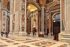 Rome, Italy - APRIL 10, 2016: Interior of St. Peter's Basilica. Stock Image