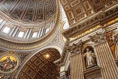 Rome, Italy - APRIL 10, 2016: Interior of St. Peter's Basilica. Stock Photo