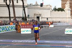 JEMILA WORTESA SHURE, at the finish line of the marathon. Rome, Italy - April 8, 2018: JEMILA WORTESA SHURE, fifth at the 24th edition of the Rome Marathon and Royalty Free Stock Image