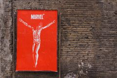 ROME, ITALY - April 6, 2017: The MARVEL Jesus Christ in red post
