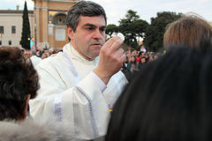 Communion during the settlement of Pope Francis, St John, Rome Stock Image
