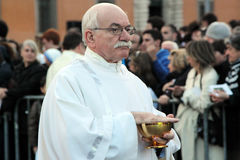 Communion during the settlement of Pope Francis, St John, Rome Stock Photography