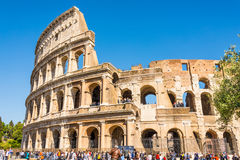 ROME, ITALY - APRIL 24, 2017. Outside view of The Colosseum with tourists waiting to enter Royalty Free Stock Images