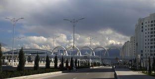 Ashgabat, Turkmenistan - April 6, 2017. Modern architecture of Ashgabat. One of the streets of Ashgabat. stock image