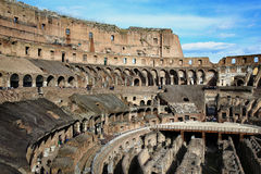 ROME; ITALY - APRIL 08: Ruins of the Colloseum and tourists in R Stock Photos
