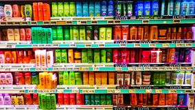 Shelves and products for personal and hair care Royalty Free Stock Photo