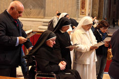 Rome, Italy - APRIL 10, 2016: Thousands of nuns and priests are. Visiting St. Peter's Basilica in the Vatican every year as pilgrims Royalty Free Stock Images