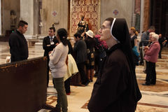 Rome, Italy - APRIL 10, 2016: Thousands of nuns and priests are. Visiting St. Peter's Basilica in the Vatican every year as pilgrims Stock Photography