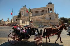 Rome, Italy - APRIL 11, 2017 : Tourist coach with horses in Piaz Stock Photos