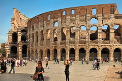 ROME, ITALY - APRIL 7, 2016: Tourists visiting the Colosseum on Royalty Free Stock Images