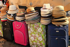 ROME, ITALY - APRIL 10, 2016: Women's summer hats and bags at th Stock Photography