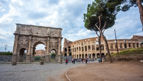 Rome, Italy - 22.06.2018: The Arch of Constantine is a triumphal. Arch in Rome near colosseum Royalty Free Stock Images