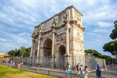 Rome, Italy - 22.06.2018: The Arch of Constantine is a triumphal. Arch in Rome near colosseum Stock Image
