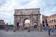 Rome, Italy - 22.06.2018: The Arch of Constantine is a triumphal. Arch in Rome near colosseum Stock Photos
