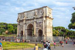 Rome, Italy - 22.06.2018: The Arch of Constantine is a triumphal. Arch in Rome near colosseum Stock Photo