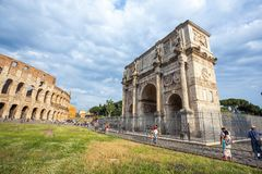 Rome, Italy - 22.06.2018: The Arch of Constantine is a triumphal. Arch in Rome near colosseum Stock Photography