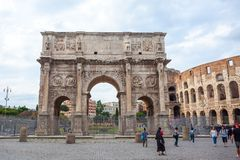 Rome, Italy - 22.06.2018: The Arch of Constantine is a triumphal. Arch in Rome near colosseum Royalty Free Stock Image
