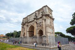 Rome, Italy - 22.06.2018: The Arch of Constantine is a triumphal. Arch in Rome near colosseum Stock Images