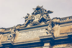 Rome, Italy. Architectural detail of the famous Fontana di Trevi Stock Photos
