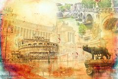 Rome Italy art illustration Royalty Free Stock Photo