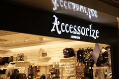 Accessorize shop. Rome, Italy - August 1, 2017: Accessorize store exterior. Founded in 1983, the English company provides bags, purses, jewellery, shoes Royalty Free Stock Images