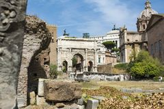 Arch of Septimius Severus in Roman Forum, Rome. Rome, Italy - August 31, 2017: Arch of Septimius Severus in Roman Forum, Rome Royalty Free Stock Image