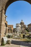 Arch of Septimius Severus in Roman Forum, Rome. Rome, Italy - August 31, 2017: Arch of Septimius Severus in Roman Forum, Rome Royalty Free Stock Images