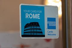 American Express Your Card for Rome. Rome, Italy - August 10, 2018: Banner of American Express Your Card for Rome. Advertisement for American Express Card royalty free stock images