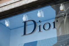 Dior store. Rome, Italy - August 15, 2017: Christian Dior window display. Christian Dior was a French fashion designer, founder of one of the world`s top fashion Royalty Free Stock Photos