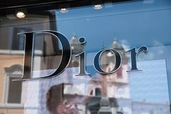 Dior store. Rome, Italy - August 15, 2017: Christian Dior window display. Christian Dior was a French fashion designer, founder of one of the world`s top fashion Stock Image