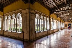 Cloister of the Papal Basilica of St. Paul outside the Walls. Rome, Italy - August 21, 2016: Cloister of the Papal Basilica of St. Paul outside the Walls . It is royalty free stock photography