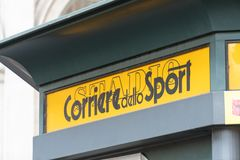 Italian Corriere dello Sport. Rome, Italy - August 10, 2018: Corriere dello Sport signage. Corriere dello Sport – Stadio is an Italian national sports royalty free stock photography