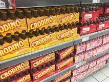 Crodino bottles for sale in supermarket stock photography