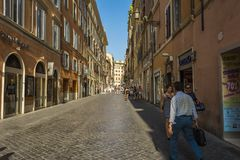 ROME, ITALY - AUGUST 30, 2017 - An crowded commercial street in Rome, Italy. Stock Photos