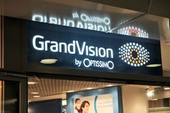 GrandVision shop. Rome, Italy - August 15, 2017: GrandVision store. GrandVision is a global leader in optical retail and operates in more than 40 different Royalty Free Stock Photo