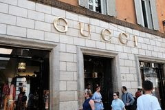 Gucci store. Rome, Italy - August 15, 2017: Gucci boutique. Gucci is an Italian luxury brand of fashion and leather goods, part of the Gucci Group, which is Stock Photos
