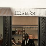 Hermes store. Rome, Italy - August 15, 2017: Hermes sign. The French high fashion luxury goods manufacturer is specialized in leather, lifestyle accessories Stock Photography