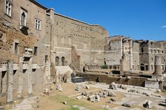 Fori Imperiali in Rome. Rome, Italy - August 13, 2017: The Imperial Fora Fori Imperiali in Italian are a series of monumental fora public squares were the center Royalty Free Stock Photography
