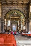 Interior view of the Papal Basilica of Saint Mary Major. Rome, Italy - August 21, 2016: Interior view of the Papal Basilica of Saint Mary Major, also known as stock photos