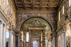 Interior view of the Papal Basilica of Saint Mary Major. Rome, Italy - August 21, 2016: Interior view of the Papal Basilica of Saint Mary Major, also known as royalty free stock photos