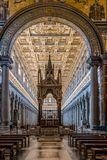 Interior view of Papal Basilica of St. Paul outside the Walls. Rome, Italy - August 21, 2016: Interior view of Papal Basilica of St. Paul outside the Walls . It stock images