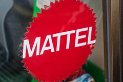 Mattel toy manufacturing company sign. Rome, Italy - August 10, 2018: Logo of Mattel, an American multinational toy manufacturing company. The products and stock images