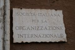 Italian Society for International Organization. Rome, Italy - August 11, 2017: Marble plate of SIOI, Italian Society for International Organization, non-profit royalty free stock photos