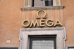 Omega store. Rome, Italy - August 15, 2017: Omega signage on store. Omega SA is a Swiss luxury watchmaker Royalty Free Stock Photo