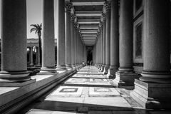Outdoors view of the Papal Basilica of St. Paul outside the Wall. Rome, Italy - August 21, 2016: Outdoors view of Colonnade in the Papal Basilica of St. Paul royalty free stock photo