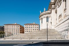 Outdoors view of the Papal Basilica of Saint Mary Major. Rome, Italy - August 21, 2016: Outdoors view of the Papal Basilica of Saint Mary Major also known as royalty free stock photos