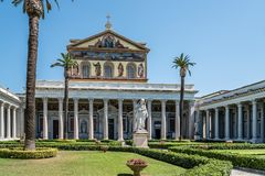 Outdoors view of the Papal Basilica of St. Paul outside the Wall. Rome, Italy - August 21, 2016: Outdoors view of the Papal Basilica of St. Paul outside the royalty free stock photos