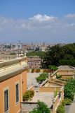 Panorama of Rome rooftops. Rome, Italy - August 11, 2017: Panorama of Rome rooftops with the Altar of the Fatherland also known as Vittoriano on background Royalty Free Stock Photography