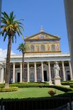 Papal Basilica of St. Paul outside the Walls in Rome. Rome, Italy - August 12, 2017: The Papal Basilica of St. Paul outside the Walls, one of Rome`s four ancient stock photography
